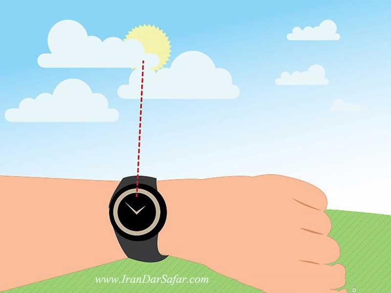 ساعت را را نسبت به نیم کره زمین قرار دهید
